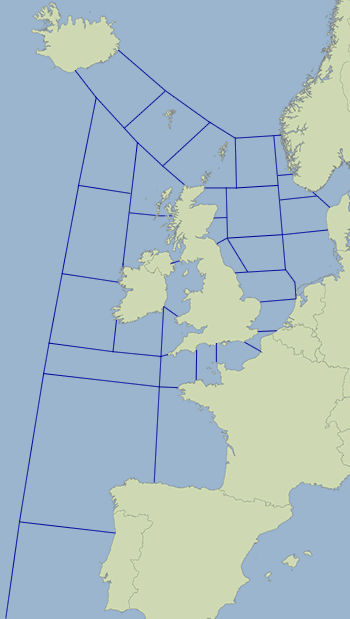 Map showing Shipping Forecast areas issued by Met Office
