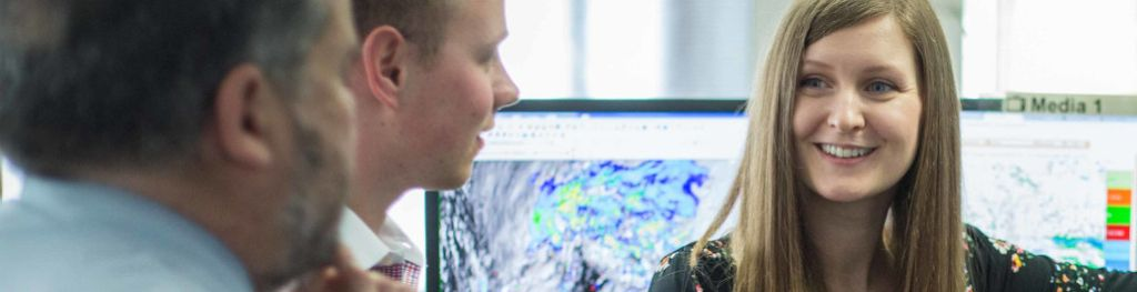 A Met Office meteorologist explains the weather during an operational briefing.