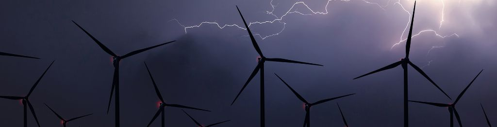 Lightning bolt above a wind farm.