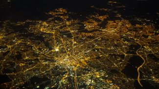 An aerial view of Manchester lights at night