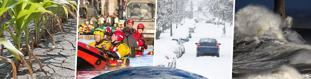 Composite graphic of the earth globe and 4 different types of extreme weather in the UK - drought in a cornfield; boat rescue teams during a flood; a street covered in heavy snow; and stormy seas.