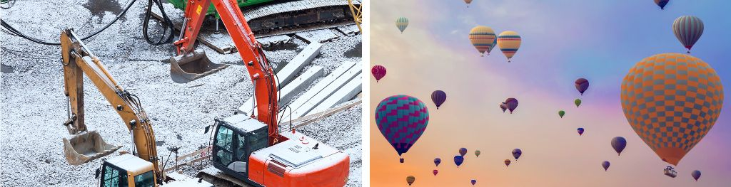 2 images side by side, one of heavy industrial plants covered in snow, the other showing flying hot air balloons.