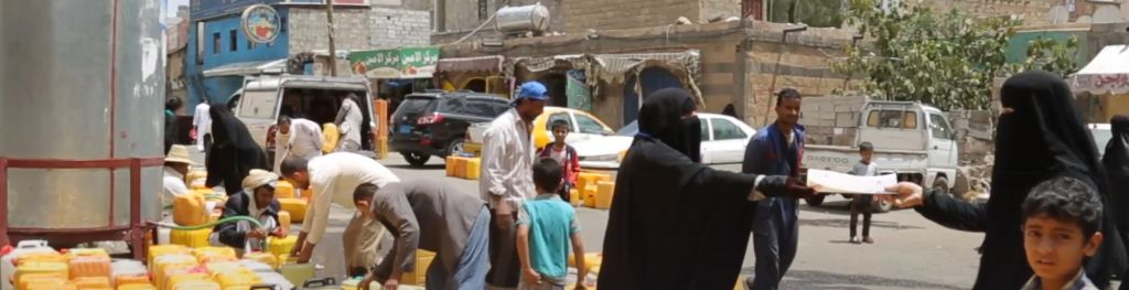 UNICEF distribution of jerrycans of clean water in Yemen to help prevent cholera