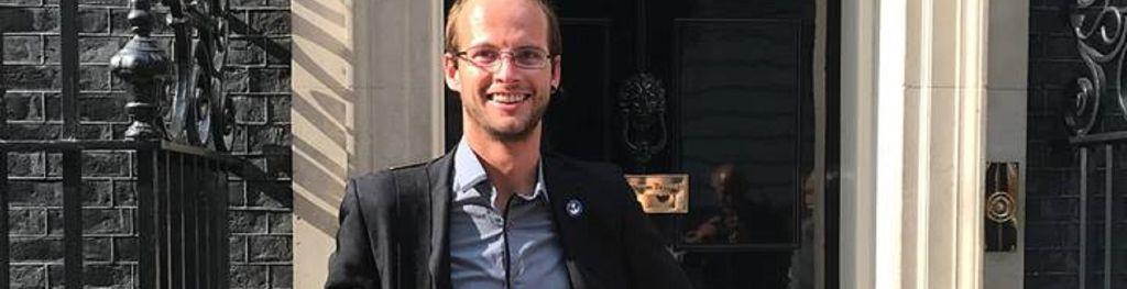 Josh Bratchley outside 10 Downing Street where he met with Prime Minister Theresa May as part of his nomination for the Daily Mirror Pride of Britain Award 2018.