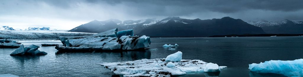 Icebergs beneath a grey sky Photo Emma Hall