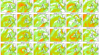 An ensemble forecast showing different forecast scenarios for wind speed