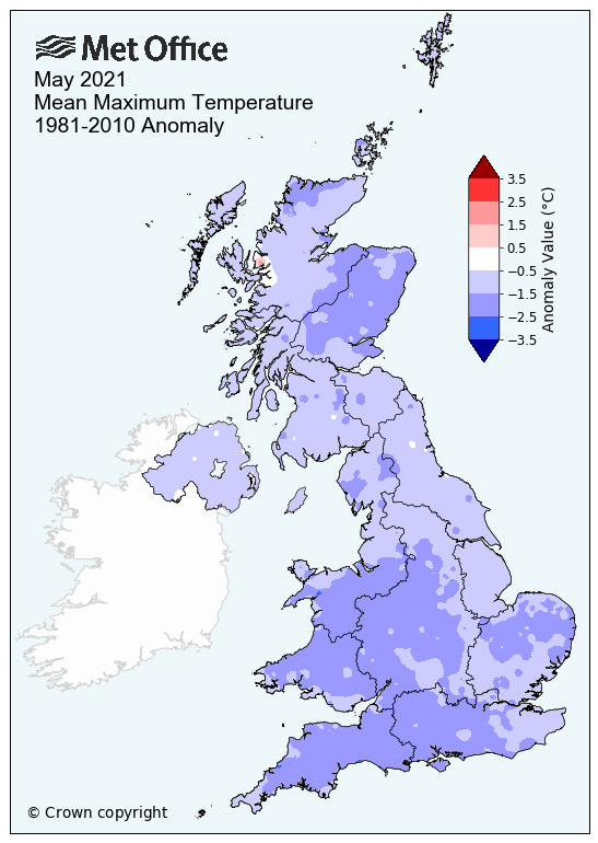 Map showing below average maximum temperatures across the UK for May 2021