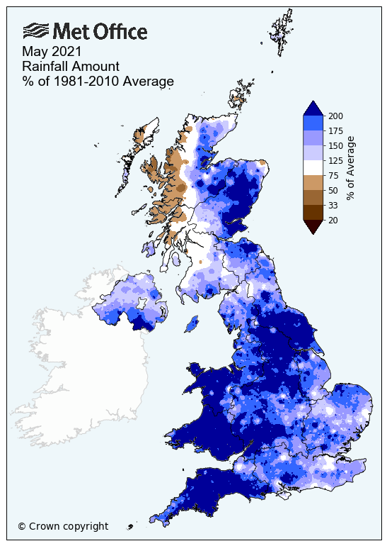 Map showing above average rainfall across the UK for May 2021
