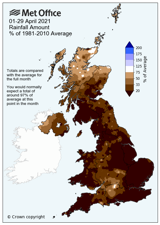 Map showing April 2021 rainfall amount