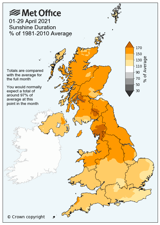 Map showing April 2021 sunshine hours