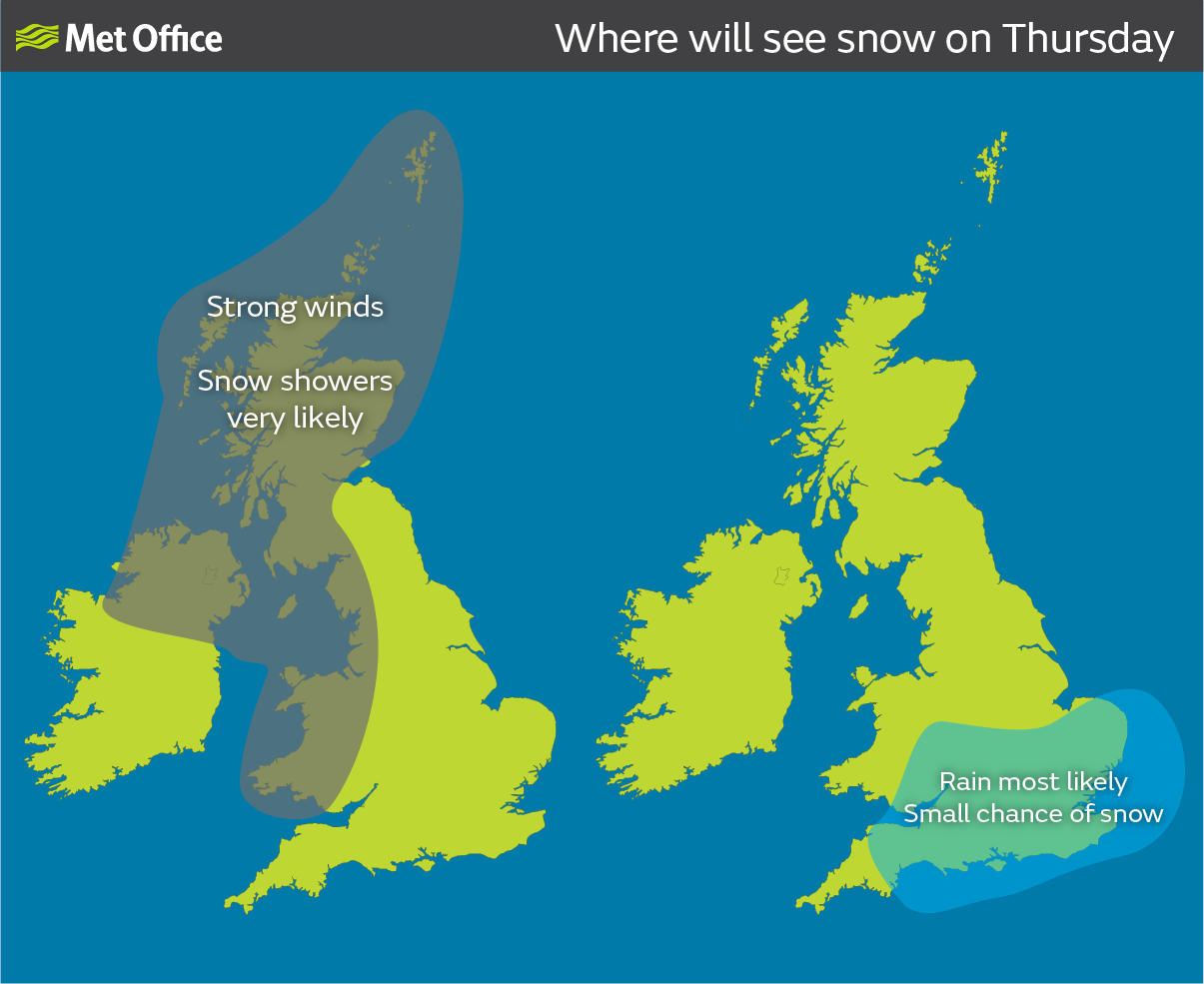 Where is the most snow in uk today