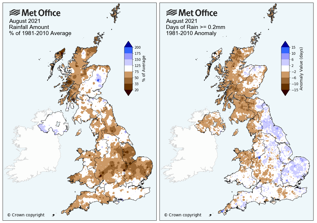 Maps showing rainfall anomaly and rain days across the UK for August 2021