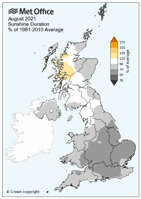 Map showing sunshine hours anomaly across the UK for August 2021