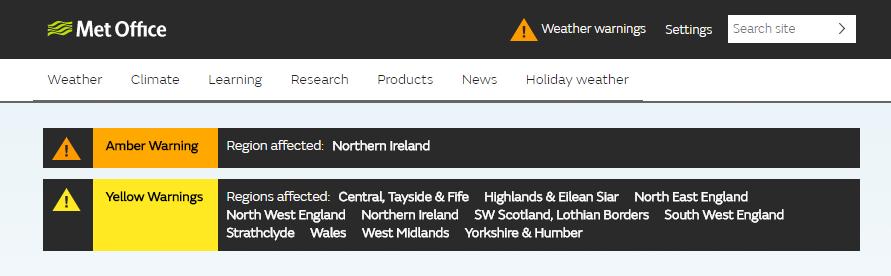 Weather warnings guide - Met Office
