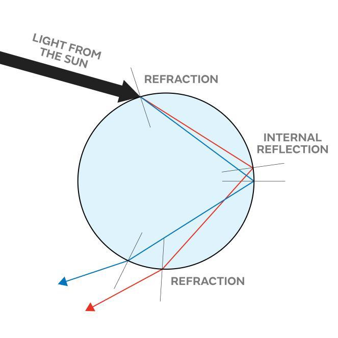 Ilustrasi proses pembiasan dan pantulan cahaya matahari yang ada pada butir air