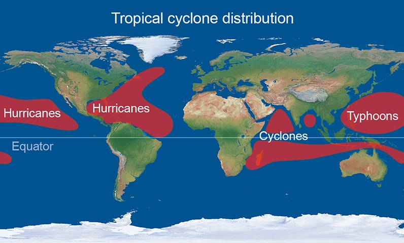 Location of tropical cyclones - Met Office