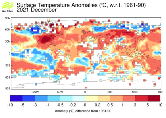 Map of combined land-surface and sea-surface temperature anomalies from HadCRUT4