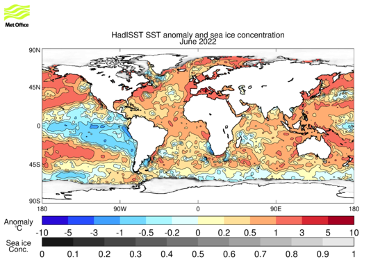 Monthly Global Sea Temperature Anomalies Chart