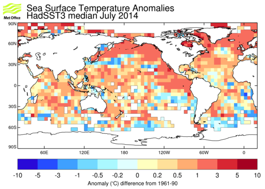 Map of sea-surface temperature anomalies from HadSST3 for latest month