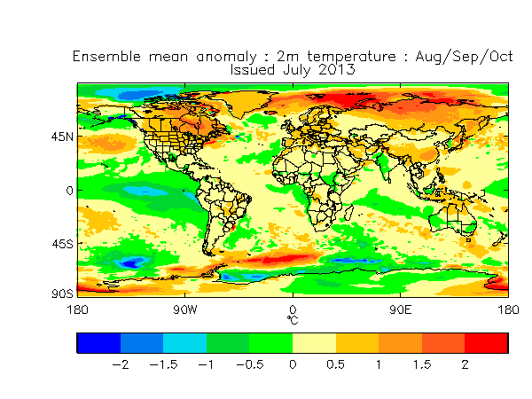 July 2013 Months 2-4  Global 2 m temperature