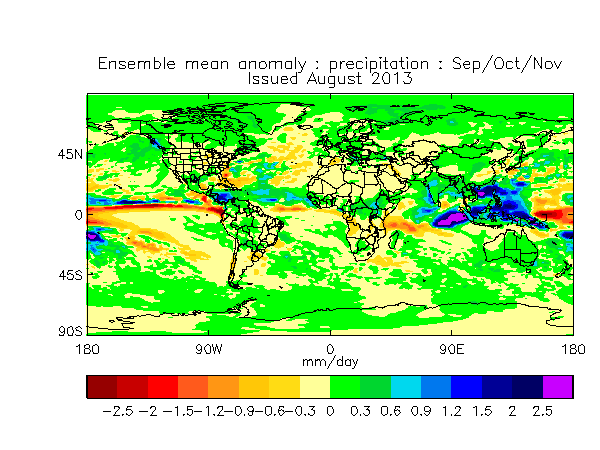August 2013 Months 2-4  Global Precipitation
