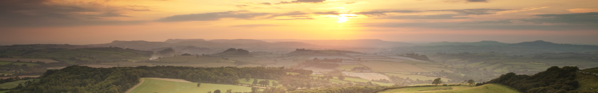View west from Eggardon Hill in Dorset, at sunset