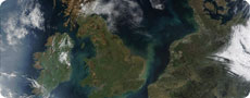 Satellite photo of the UK